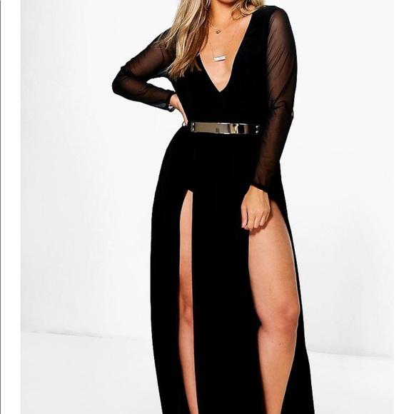 9c4f8c3b5cb6 Boohoo Plus Dresses & Skirts - Boohoo High Splits Maxi Dress with Mesh  Sleeves